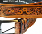 "Steampunk Embossed Full Grain Leather Belt . 1½"" (38mm) Wide. Design: EM050"